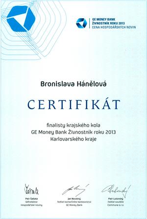Certifikát Bronislava Hánělová II